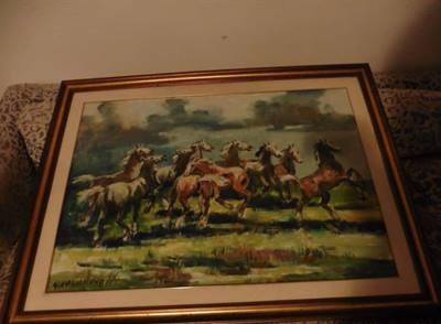 Quadro Navarrino Cavalli Selvaggi, Olio Sutela