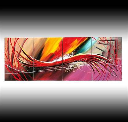 Quadro dipinto a mano rosa rosso giallo