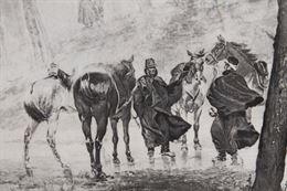Antica stampa raffigurante soldati a Cavallo