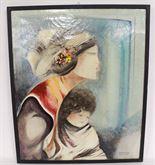 Quadro olio su tela di donna con bambino firmato Brescianini