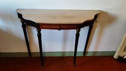 Tavolo consolle intarsiato, in marmo