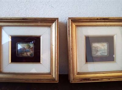 Quadri - Coppia di paesaggi in miniatura su