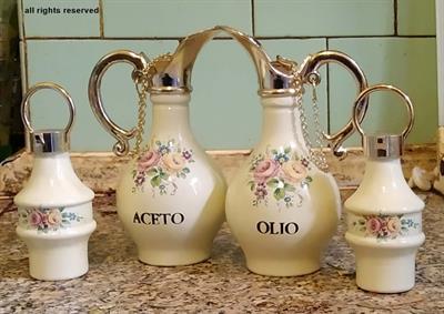 Set in ceramica Olio, Aceto, Sale e Pepe del secolo scorso