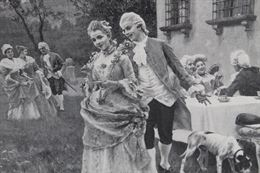 Antica stampa Francese raffigurante scena bucolica epoca
