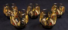 Servizio di cinque bicchieri in vetro soffiato
