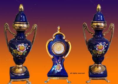 Set di 3 Ceramiche con Orologio risalente agli anni 70