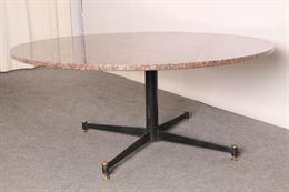 Tavolo da salotto Modernariato anni 50 ottone e Granito ros