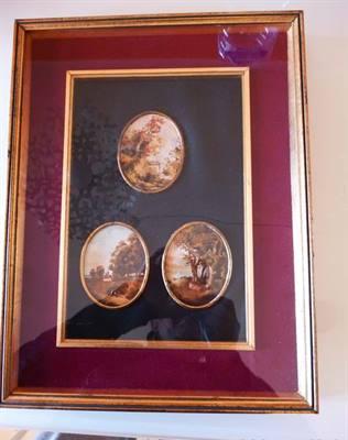3 miniature dipinte a olio periodo '800