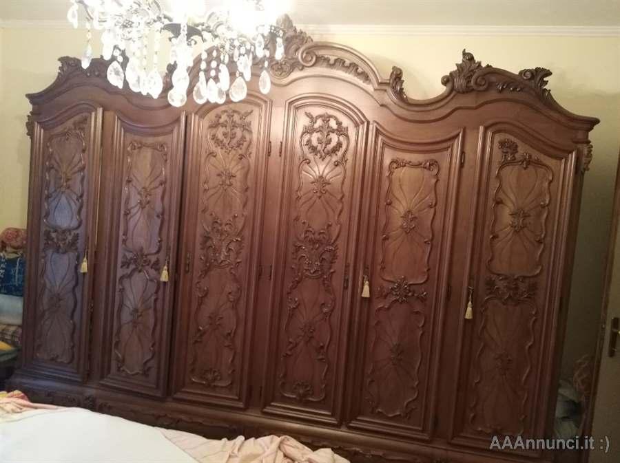 Camera da letto in noce nazionale stile barocco piemontese ...
