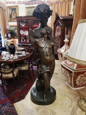 Antica statua in bronzo di Satiro con amorino firmata Sanzel