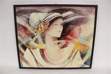 Quadro olio su tela di donne firmato Brescianini da Rovato