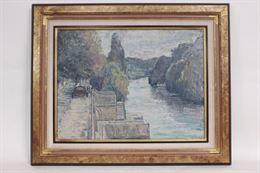 Quadro paesaggio di fiume, olio su tela, firmato Recanzone