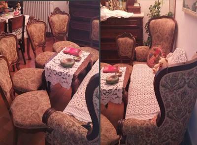 Divano e sedie damascate