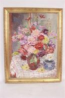 Quadro di vaso di fiori su tavolo, tecnica mista su faesite