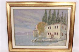 Quadro paesaggio di lago, olio su tela 89x69, firmato Milani