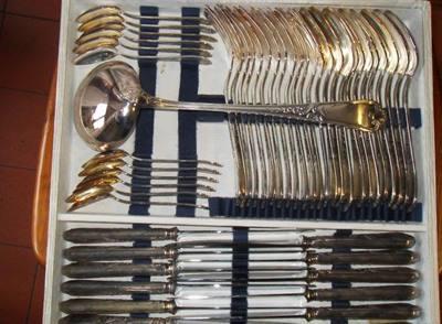 Servizio posate Louis XIV metal argentee 49 pezzi