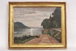 Quadro olio su tela, paesaggio lacustre, firmato M. Bergeron