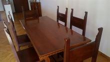 Tavolo da sala in legno massiccio + 6 sedie e 2 cassetti