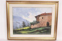 Dipinto olio su tela, paesaggio montano con casa, firmato