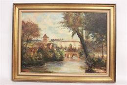 Quadro olio su tela, scorcio paesaggistico, firma J. Pierre