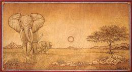 Pirografia quadro Tramonto Africano 50 X 90