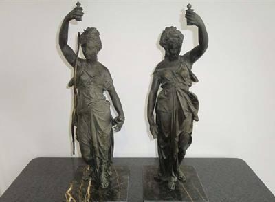 2 statue antiche dell'ottocento